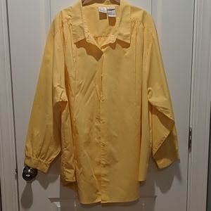 Roaman's Bright Yellow Button Up Blouse